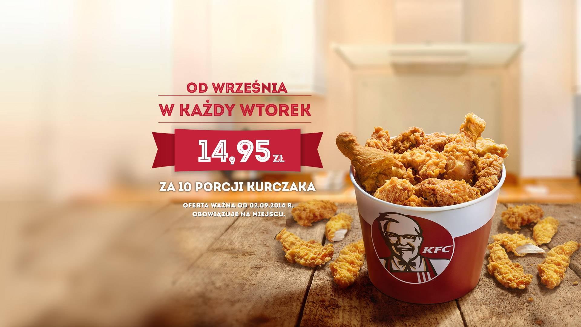 10 kurczaków w każdy wtorek za 14,95 zł @ KFC