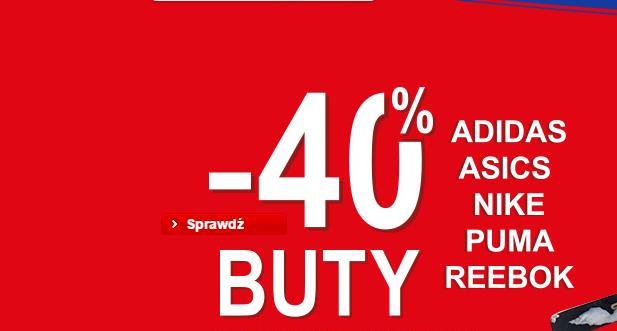-40% na buty ADIDAS ASICS NIKE PUMA REEBOK @Intersport