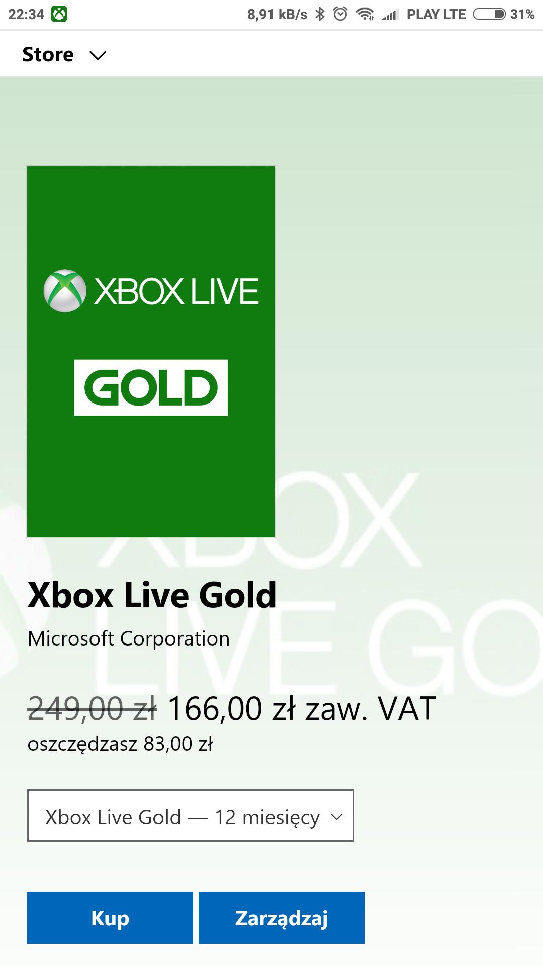 Xbox Live Gold 12 miesięcy za 166 zł