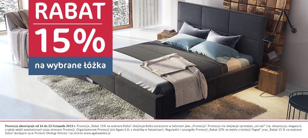 15% rabatu na wybrane łóżka @ Agata Meble