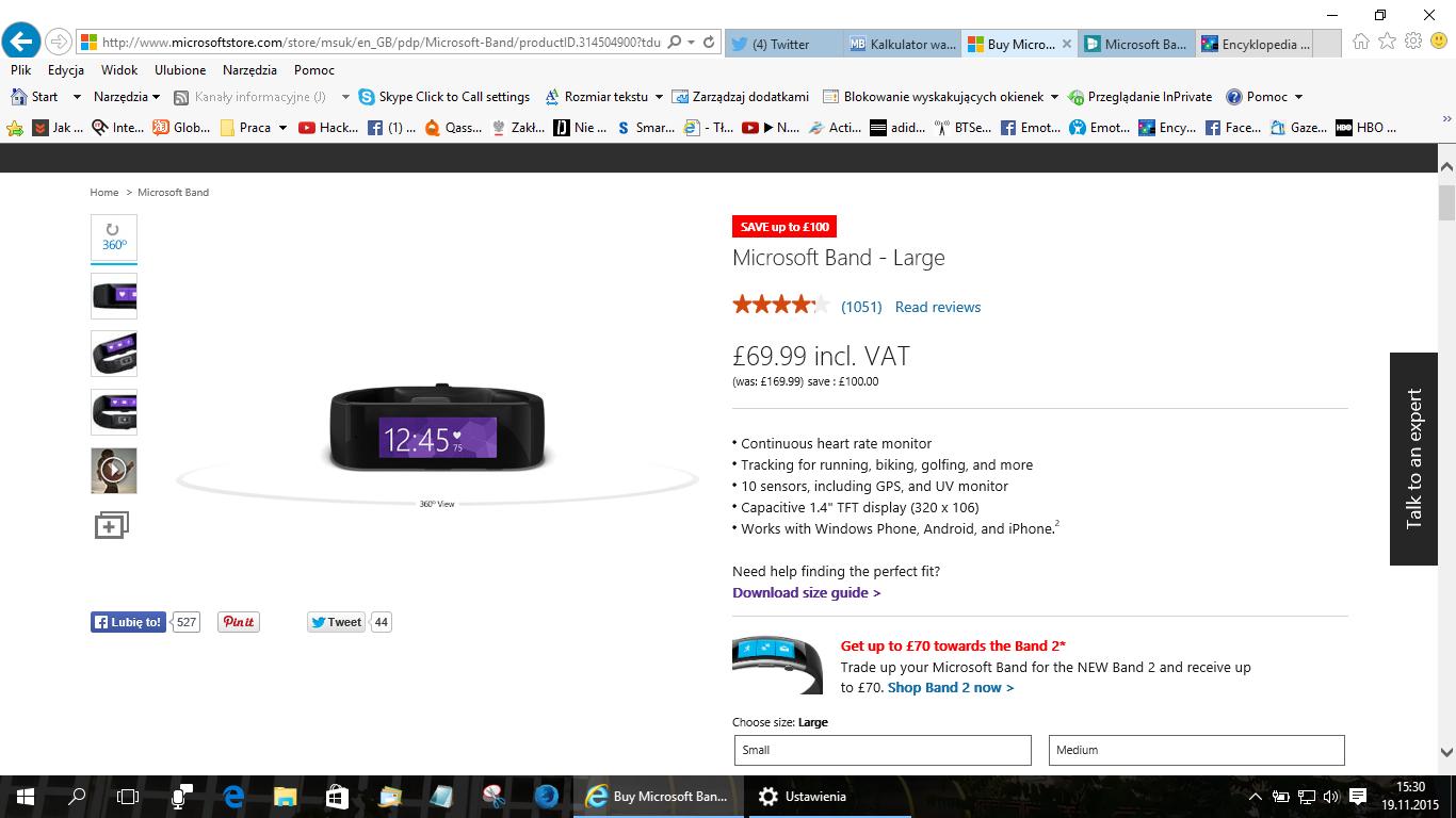 Opaska Microsoft Band 1 za ok. 300 zł z przesyłką @Microsoft