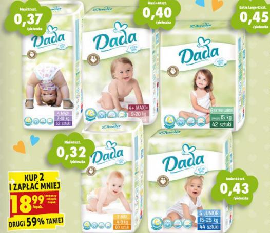 Pieluchy Dada Extra Soft przy zakupie dwóch opakowań 18,99zł/opak. Drugie 59% taniej. Biedronka