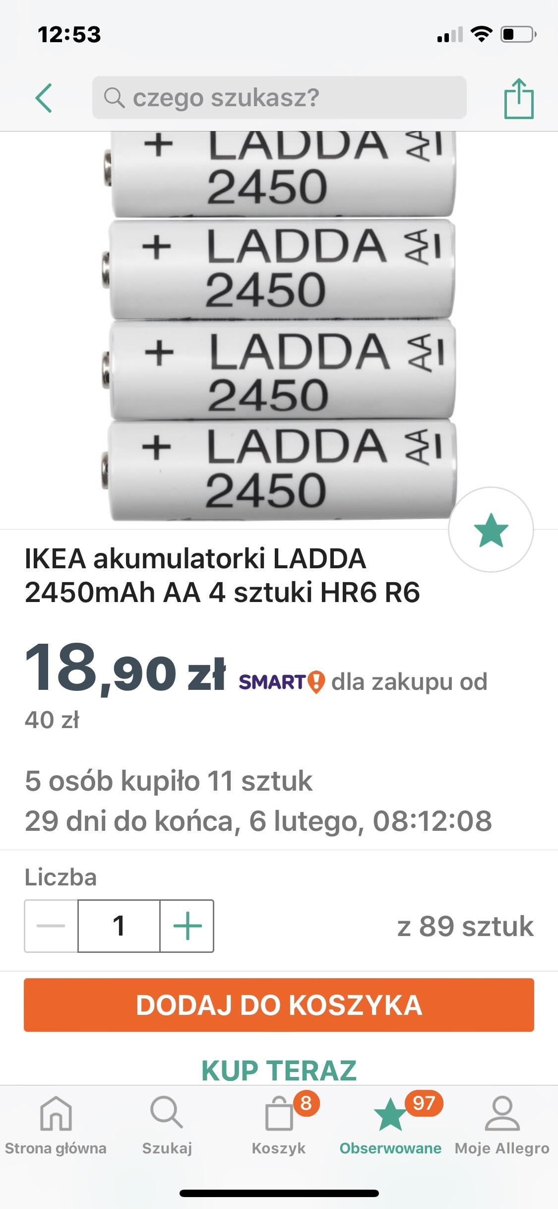 IKEA akumulatorki LADDA 2450mAh AA 4sztuki na Allegro
