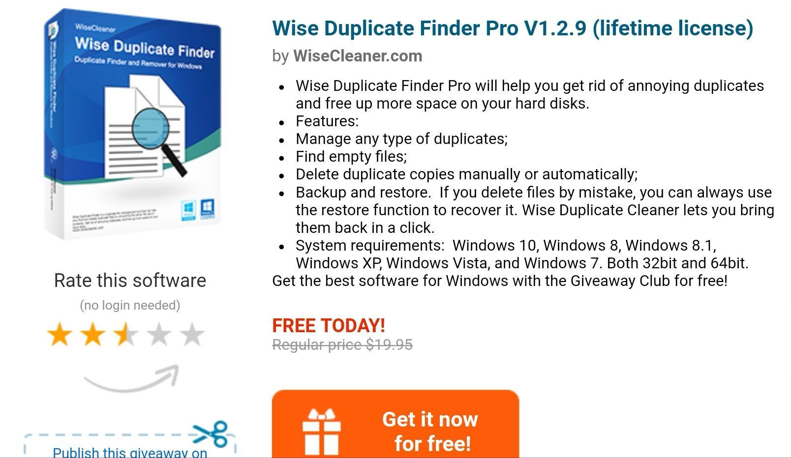 Wise Duplicate Finder pro za Darmo zamiast 19,95 $