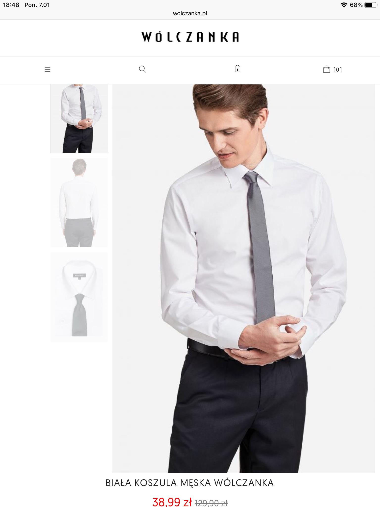 Koszula Wólczanka biała i nie tylko! Dodatkowo swetry, muchy, krawaty i damskie koszulę