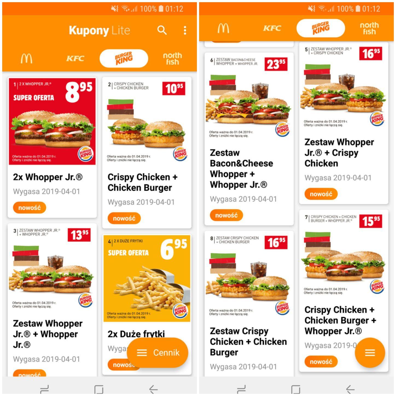 Kupony Burger King - styczeń / luty / marzec 2019