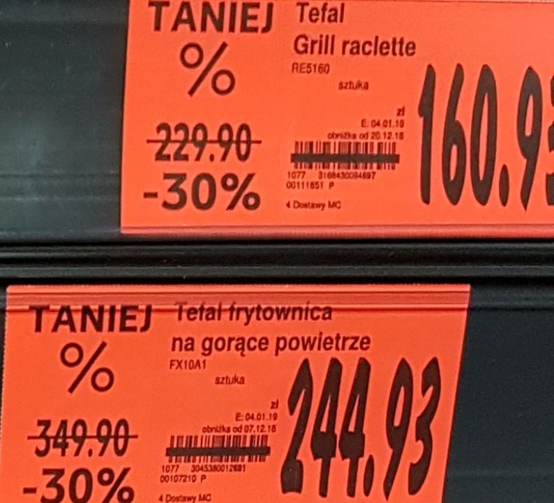 -30% TEFAL: Grill elektryczny Raclette RE5160 (160,93zł z 229,90zł) i Frytownica beztłuszczowa FX10A1 (244,93zł z 349,90zł) @ Kaufland
