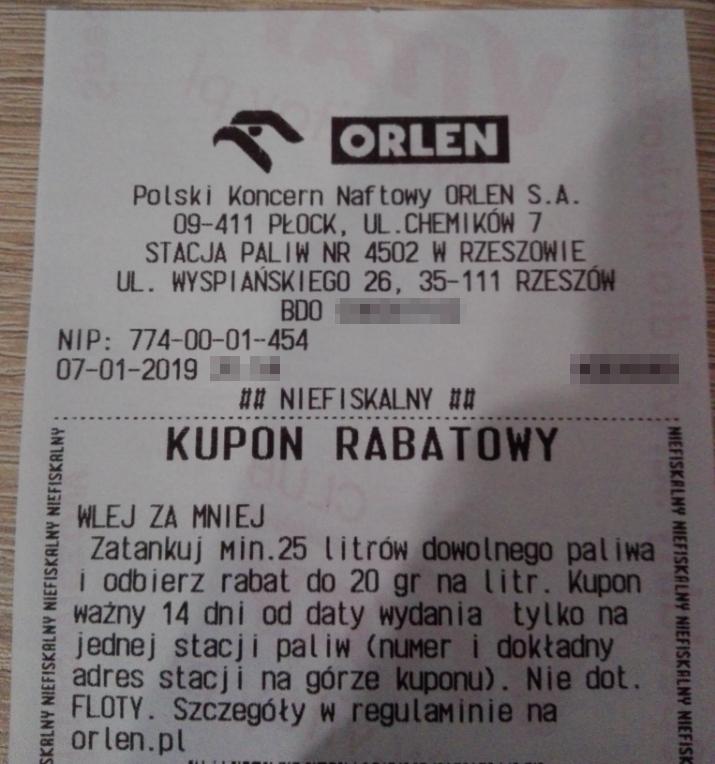 Rabat na paliwo Orlen do 20 gr taniej / litr - Rzeszów