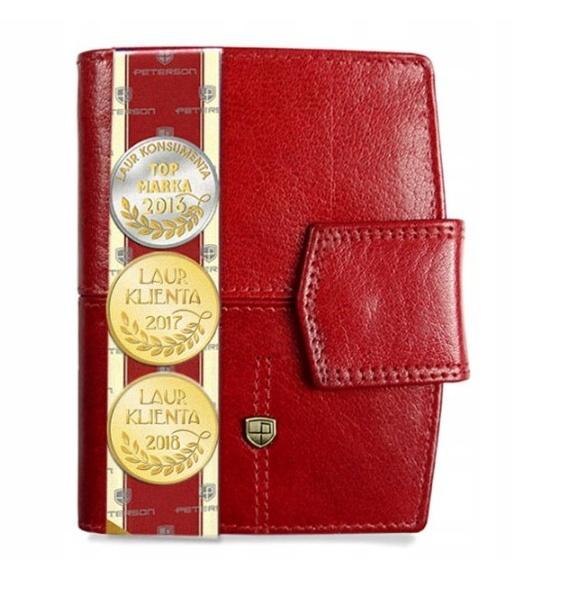 Skórzany portfel damski Peterson. Czerwony.