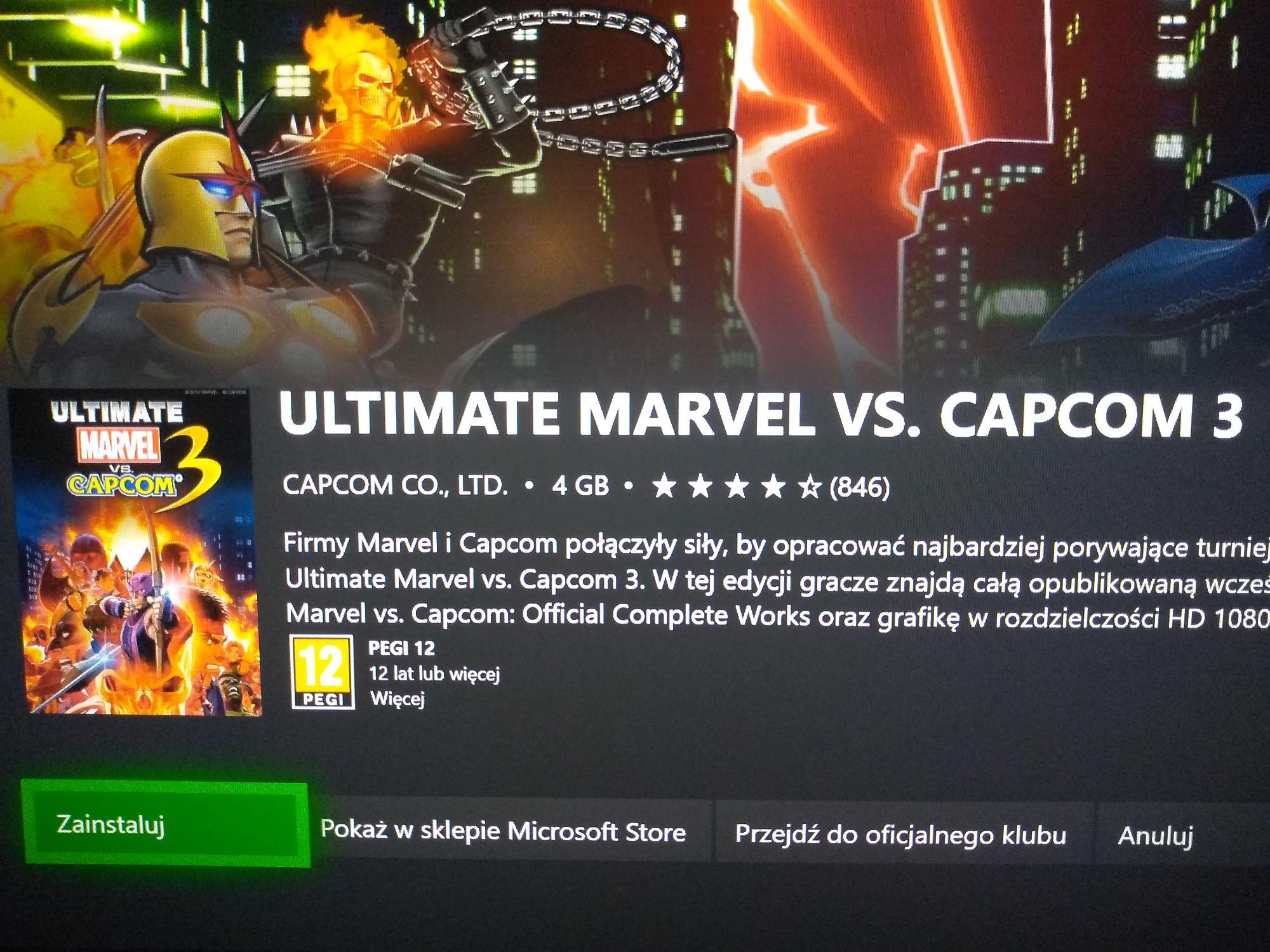 Ultimate Marvel vs. Capcom 3 w gamepass Xbox One