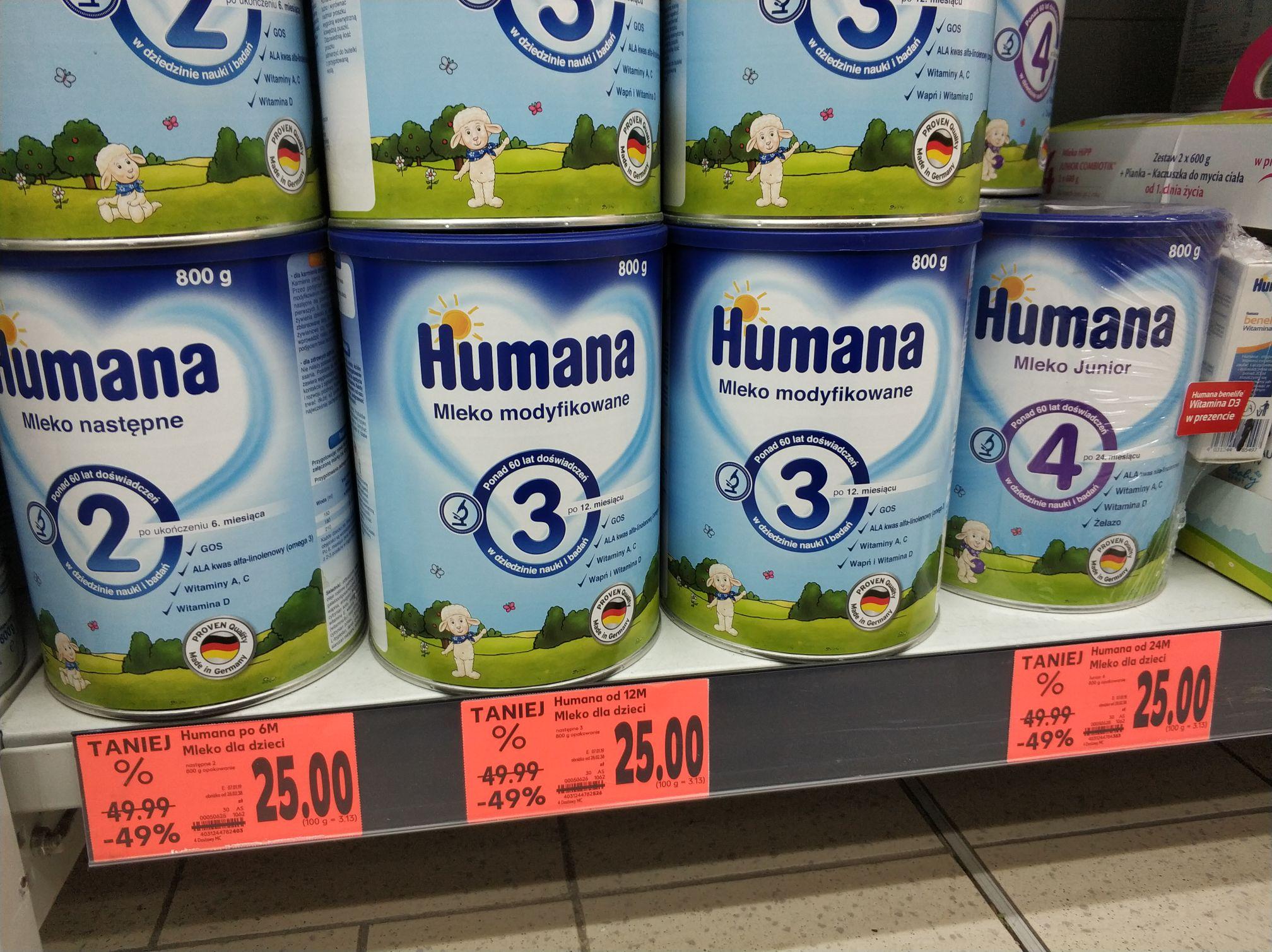 Mleko modyfikowane HUMANA 2, 3 i 4 za pół ceny Kaufland