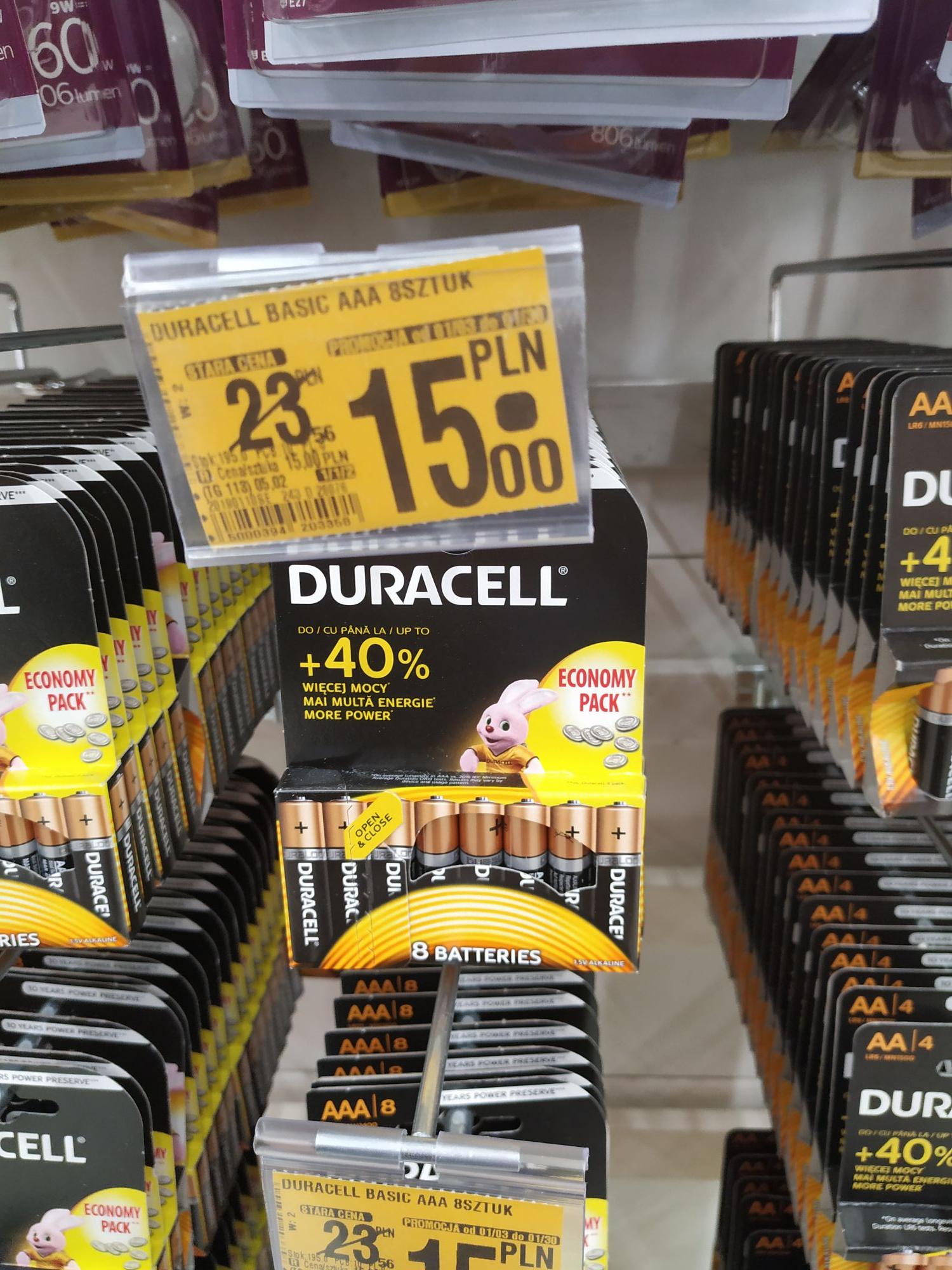 Baterie duracell 8 sztuk +40 % Więcej mocny.
