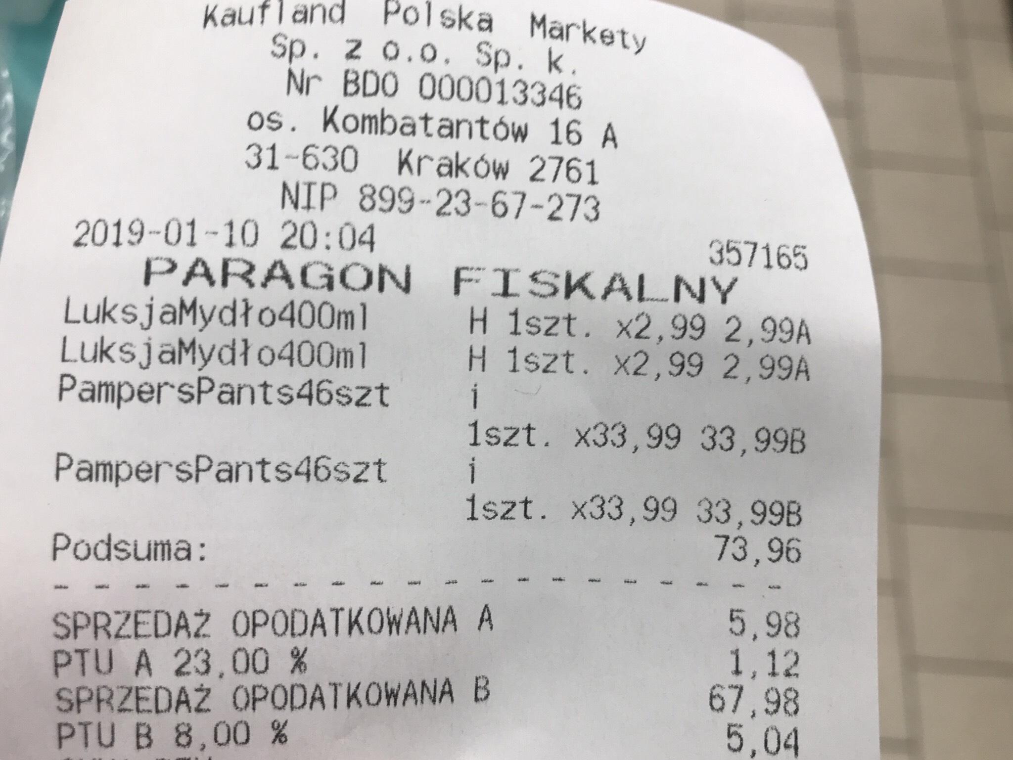 Pieluchy Pampers Pants 33,99 0,74zl/szt Kaufland
