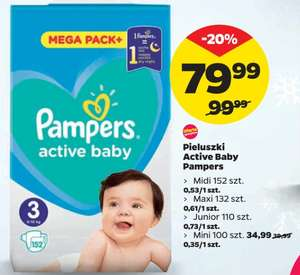 W NETTO pieluchy Pampers Active Baby: Midi, Maxi, Junior 79,99 zł, Mini 34,99 zł