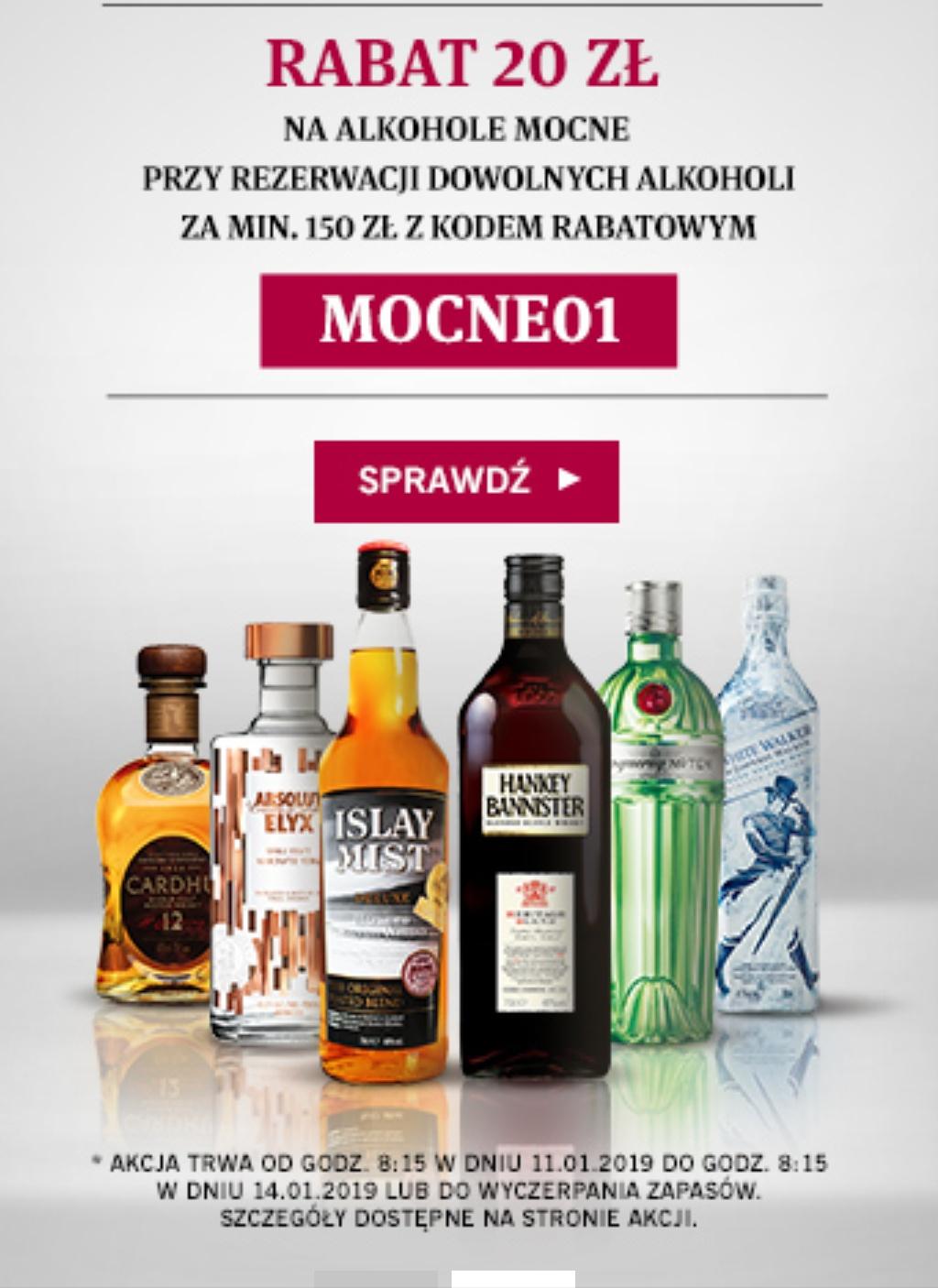 """20 ZŁ RABATU NA ALKOHOLE MOCNE Z KODEM RABATOWYM """"MOCNE01"""""""