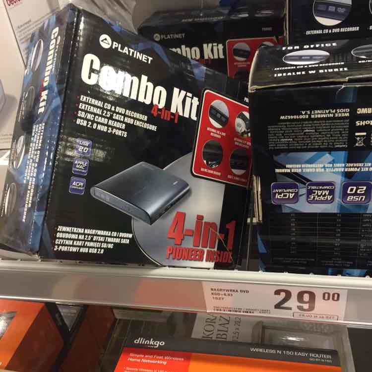 netto - Combo 4w1 nagrywarka, hub, czytnik kart, kieszeń na dysk