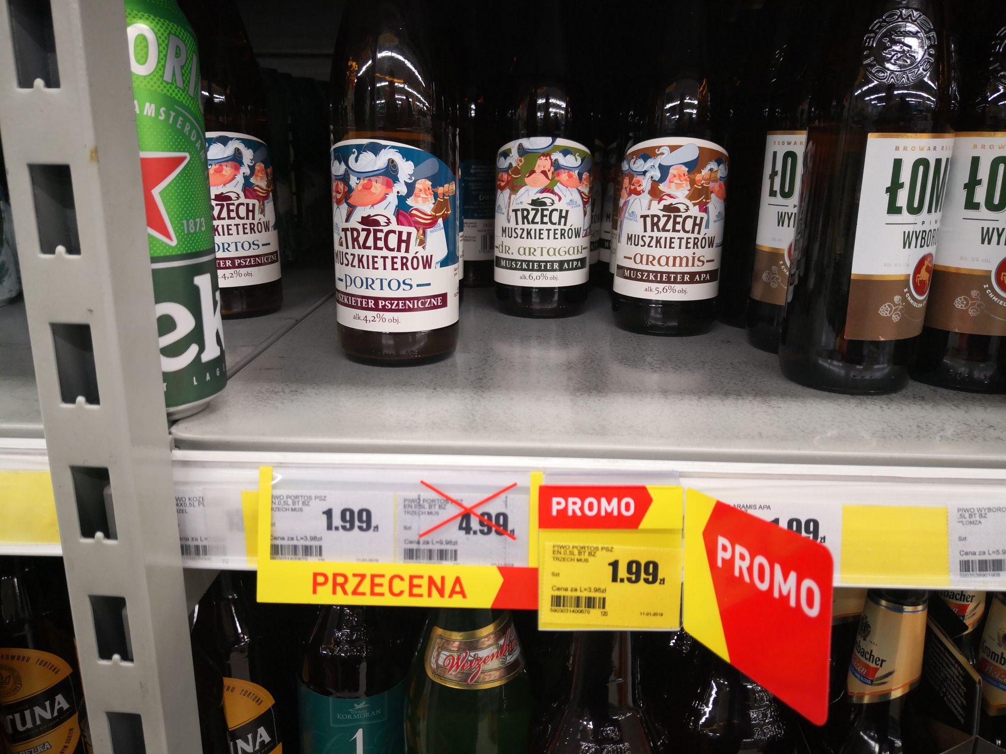Piwo trzech muszkieterów Doctor Brew- Intermarche. Butelka bezzwrotna.