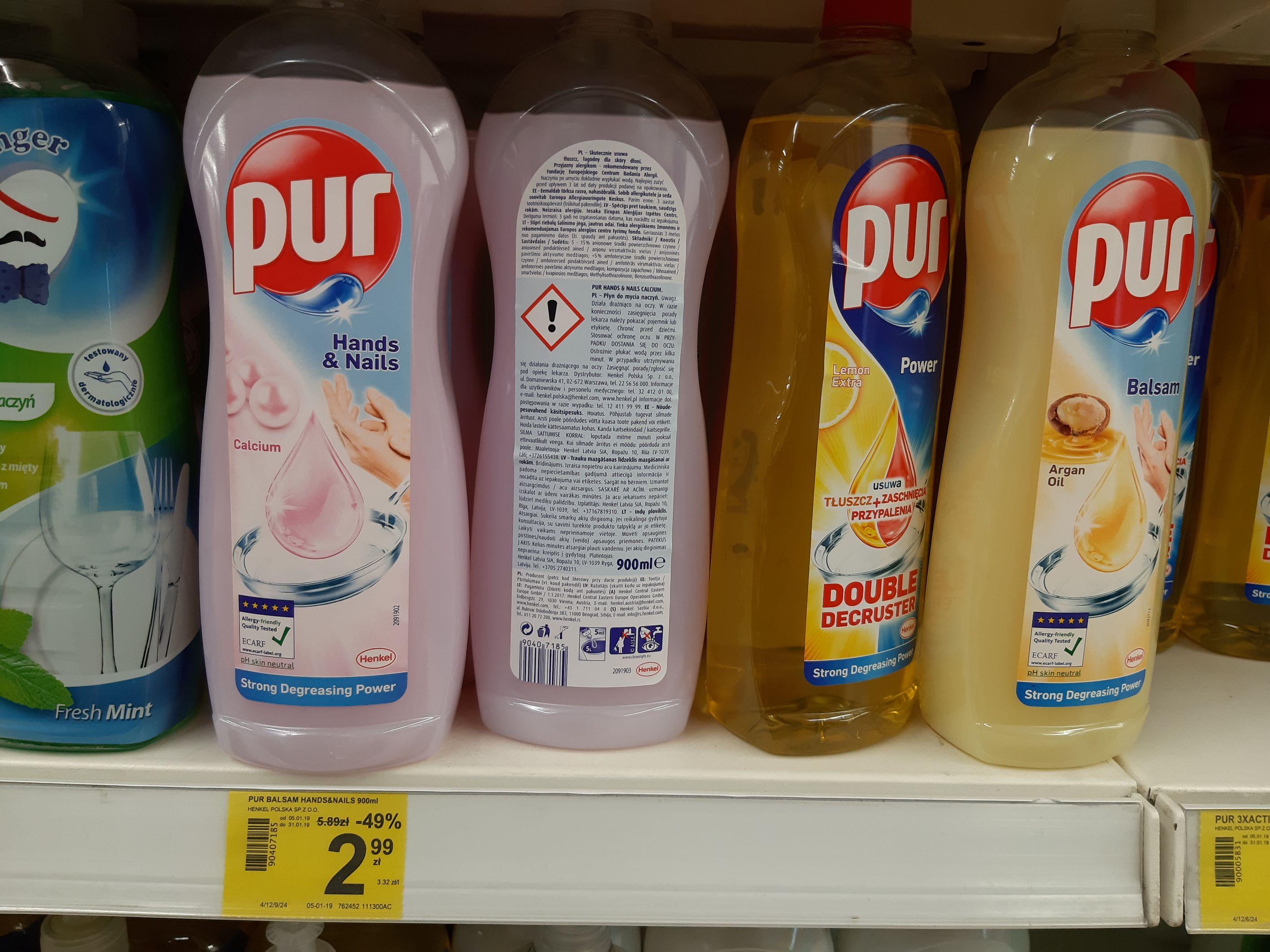 Płyn do mycia naczyń PUR 900ml Carrefour