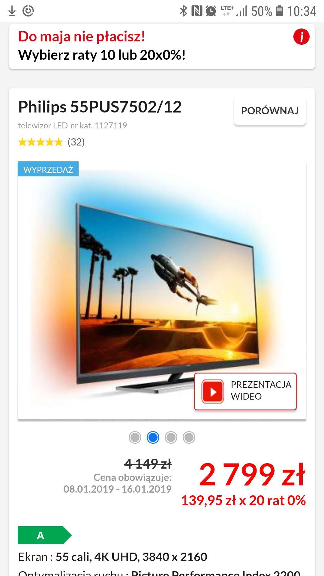 Philips 55PUS7502 RTVeuroAGD 20x0%