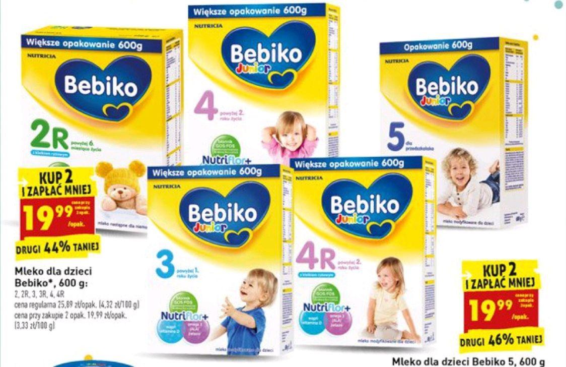 Biedronka. Mleko dla dzieci Bebiko 2, 3, 4, 5 600g