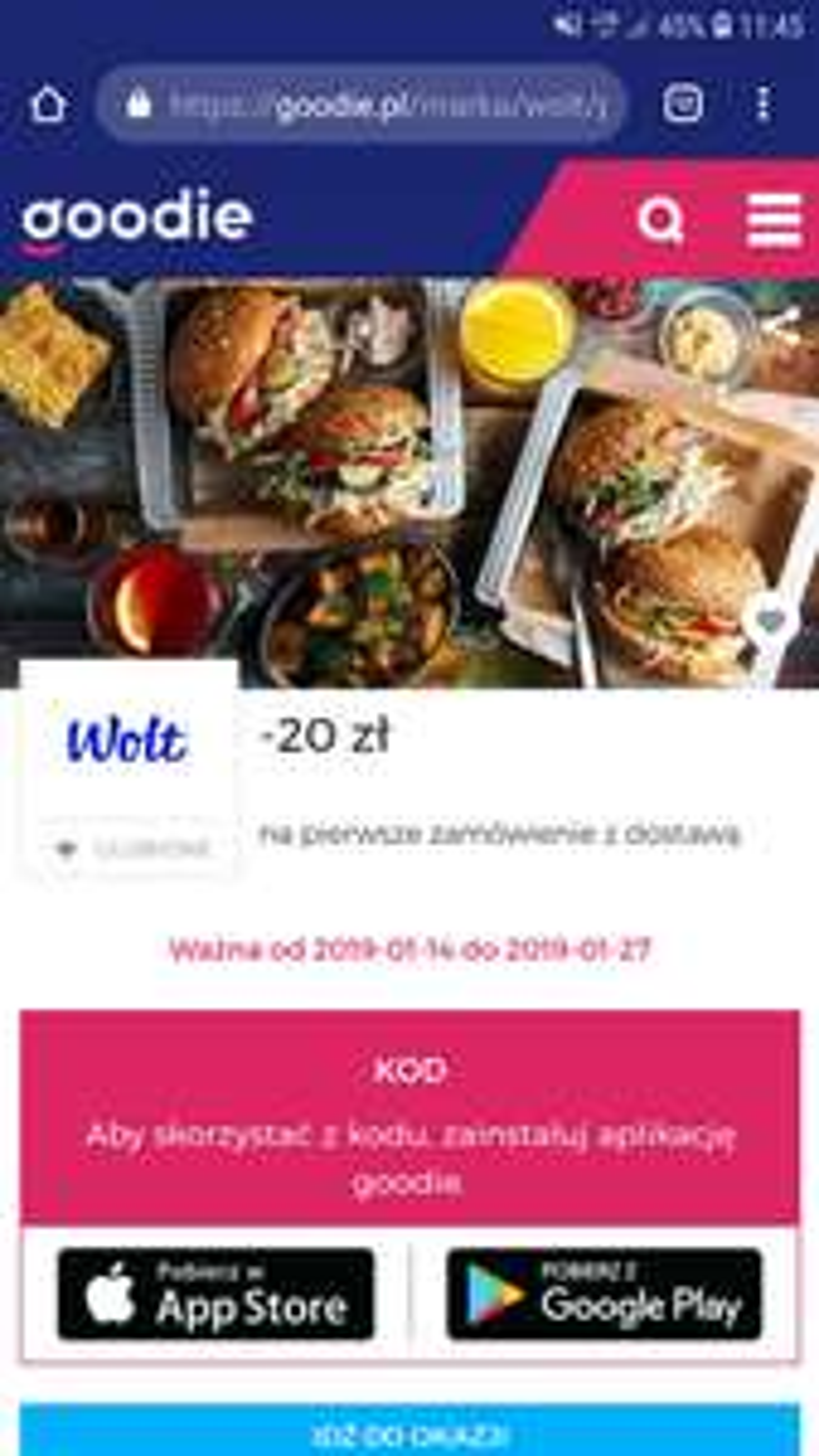 -20zł dla nowych Wolt z goodie Gdynia, Gdańska, Warszawa