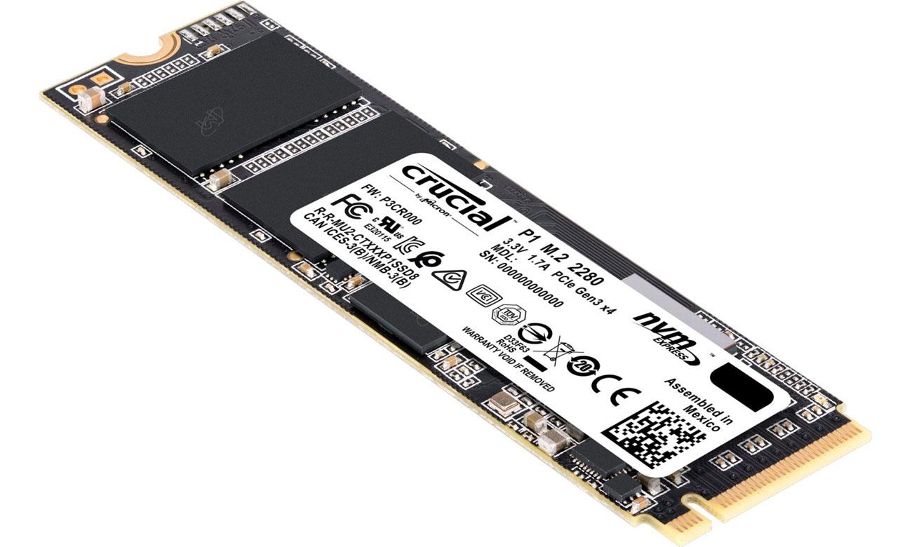 Crucial 500GB M.2 PCIe Gen3 x4 NVMe P1 1900/950mbps
