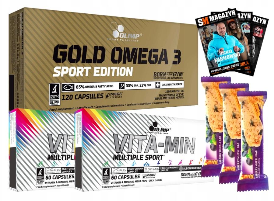 OLIMP GOLD OMEGA 3 + 2x OLIMP VITA-MIN MULTIPLE 240 Kaps+ 3 batony