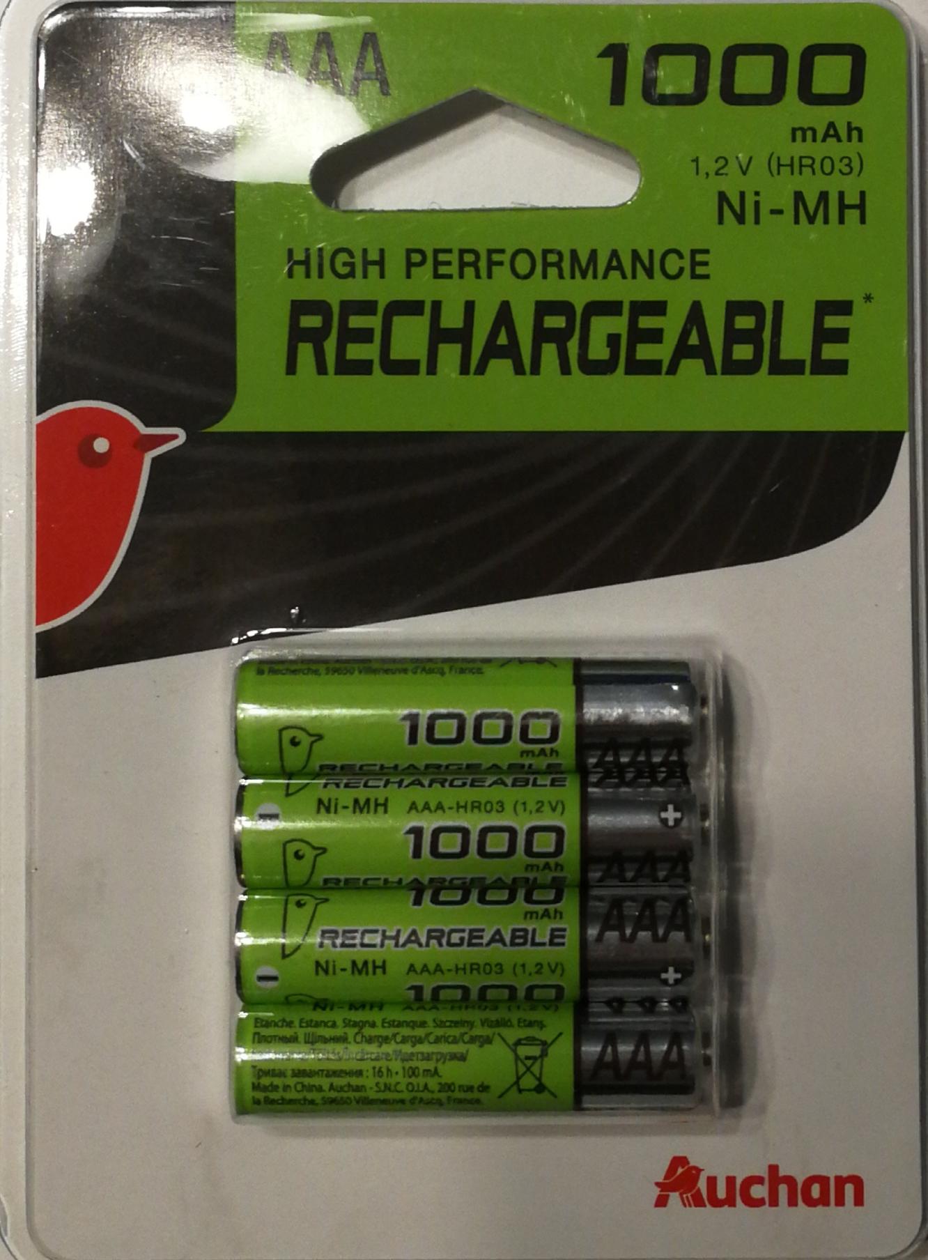4 Akumulatorki AAA 1000 mAh Ni-MH marki własnej Auchan M1 Kraków.
