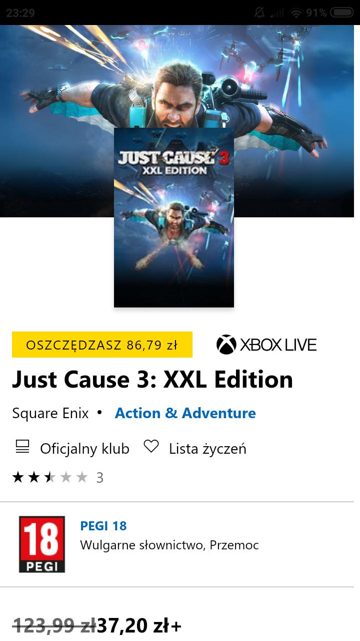 Just Cause 3: XXL Edition Microsoft Store (XBOX, Posiadacze GOLD)