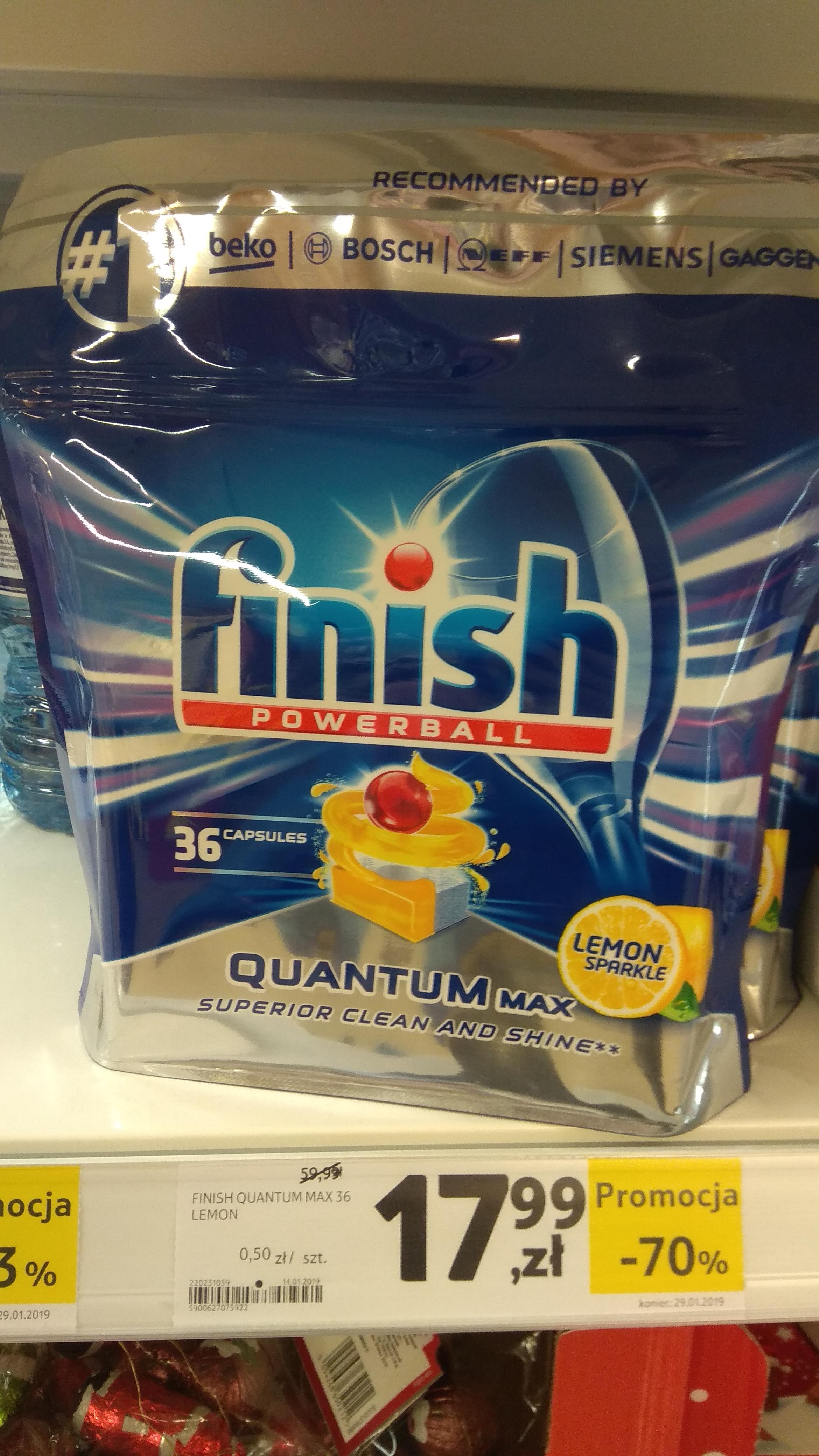 Tabletki Finish Quantum 36 szt. za 17,99 zł teoretycznie -70% TESCO