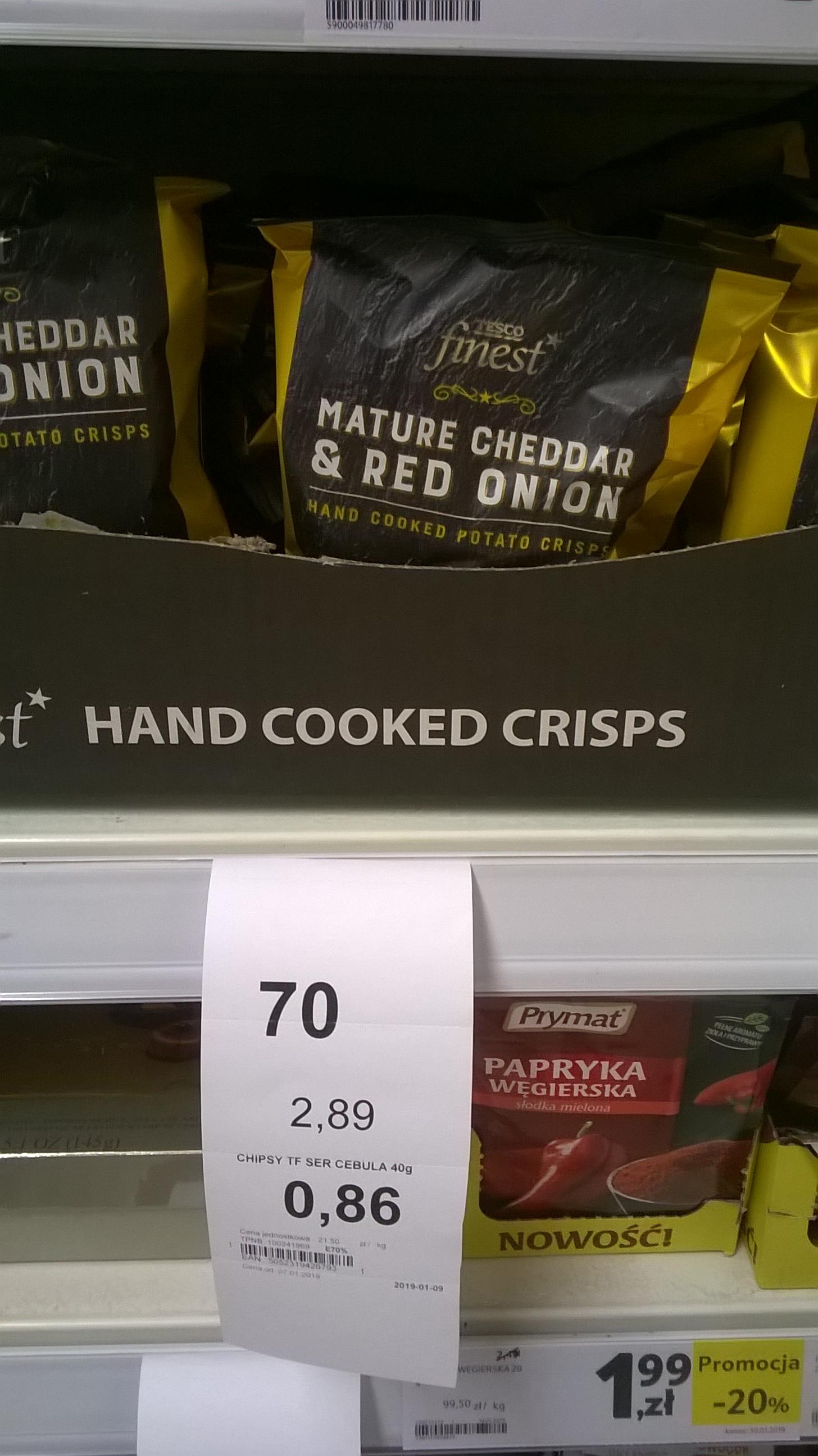 Chipsy cheddar z cebulą, 40g - Tesco finest, Piastów