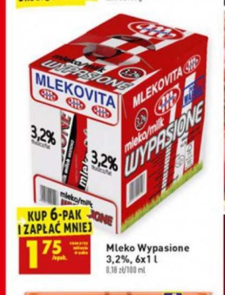 Biedronka. Mleko Mlekovita 3,2%. Cena 1,75zł/szt. Przy zakupie 6 sztuk