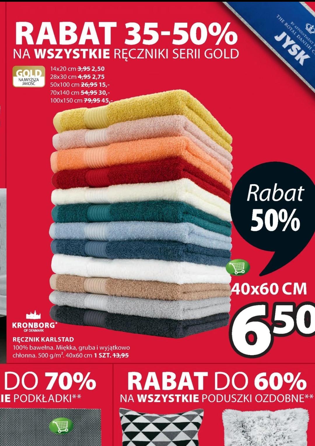Rabat 35-50% na wszystkie ręczniki z serii gold Jysk