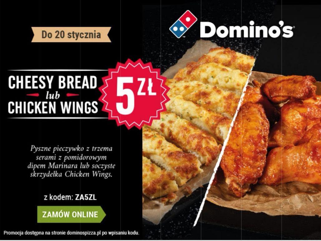 Cheesy Bread lub Chicken Wings (3 rodzaje) w Domino's na miejscu i w dostawie | 8 szt. za 5 zł.