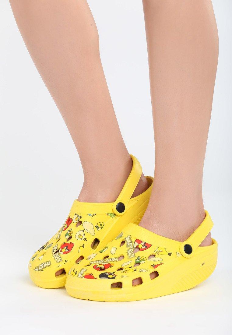 żółte klapki Angry Birds r. 35 i 36