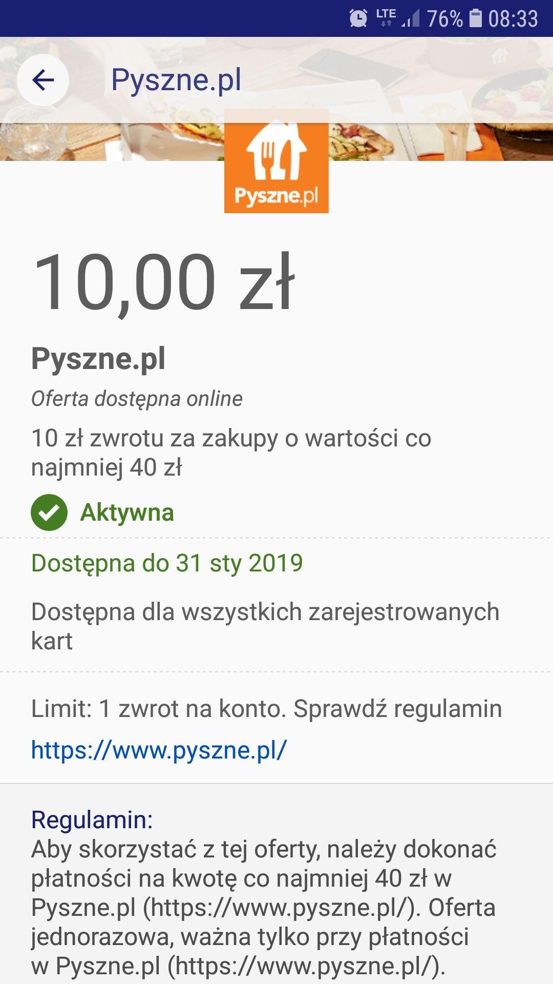 Pyszne.pl ! 10 zł zwrotu przy min. kwocie zamówienia 40 zl. Visa Oferty