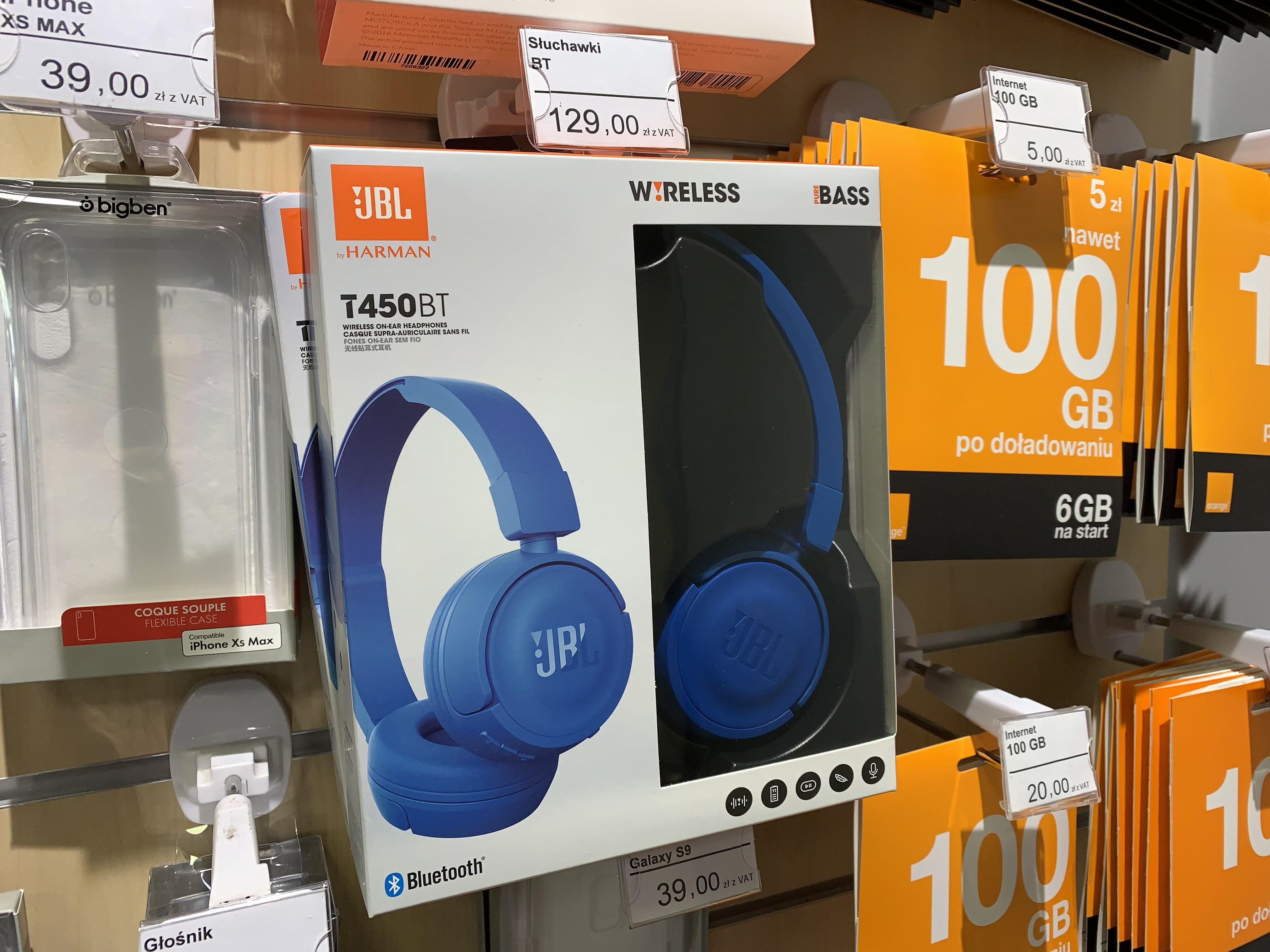 Słuchawki JBL T450BT w obniżonej cenie w Orange