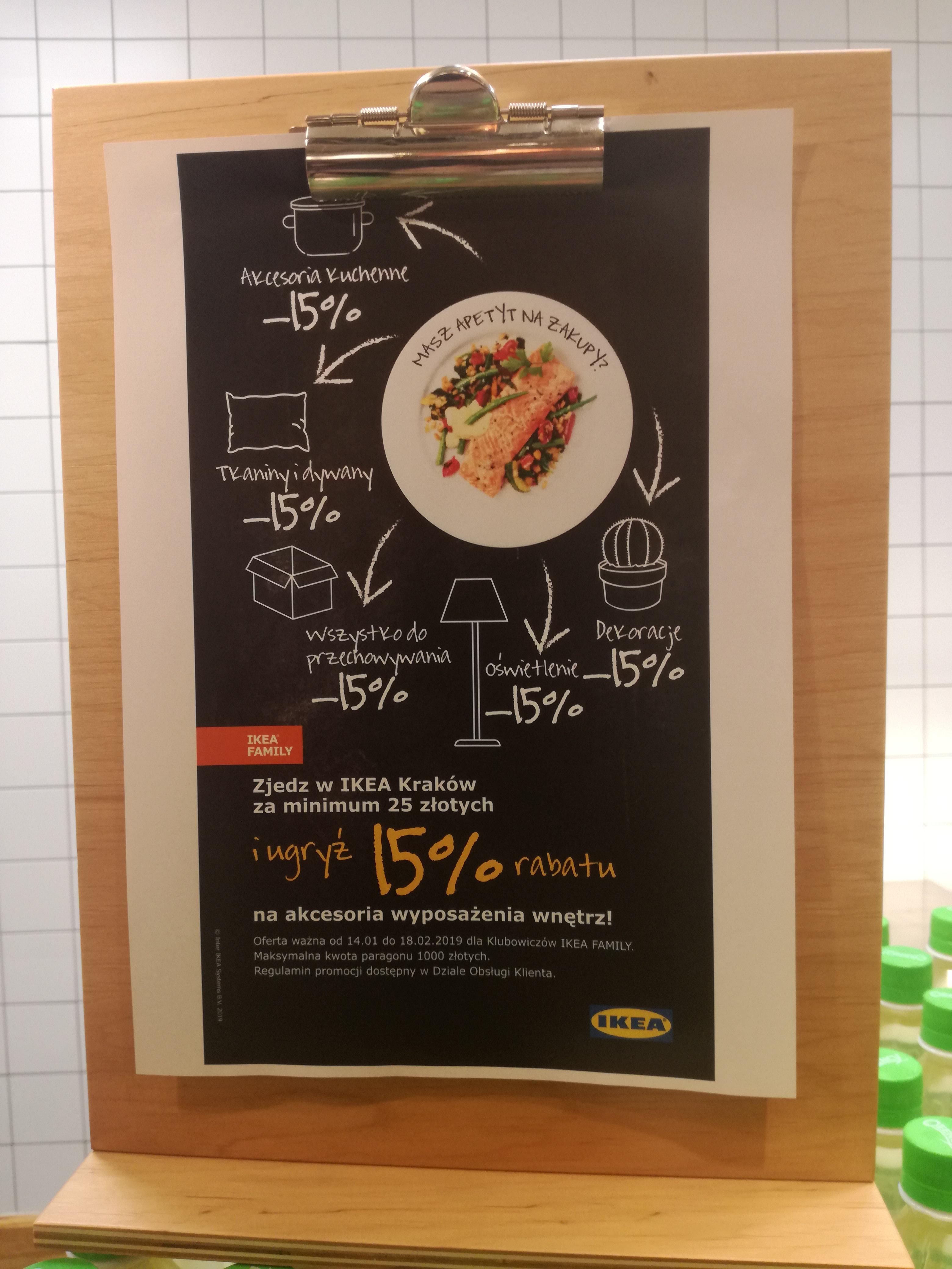 ikea - Rabat 15% na wyposażenie wnętrz przy zakupie w restauracji za 25zl