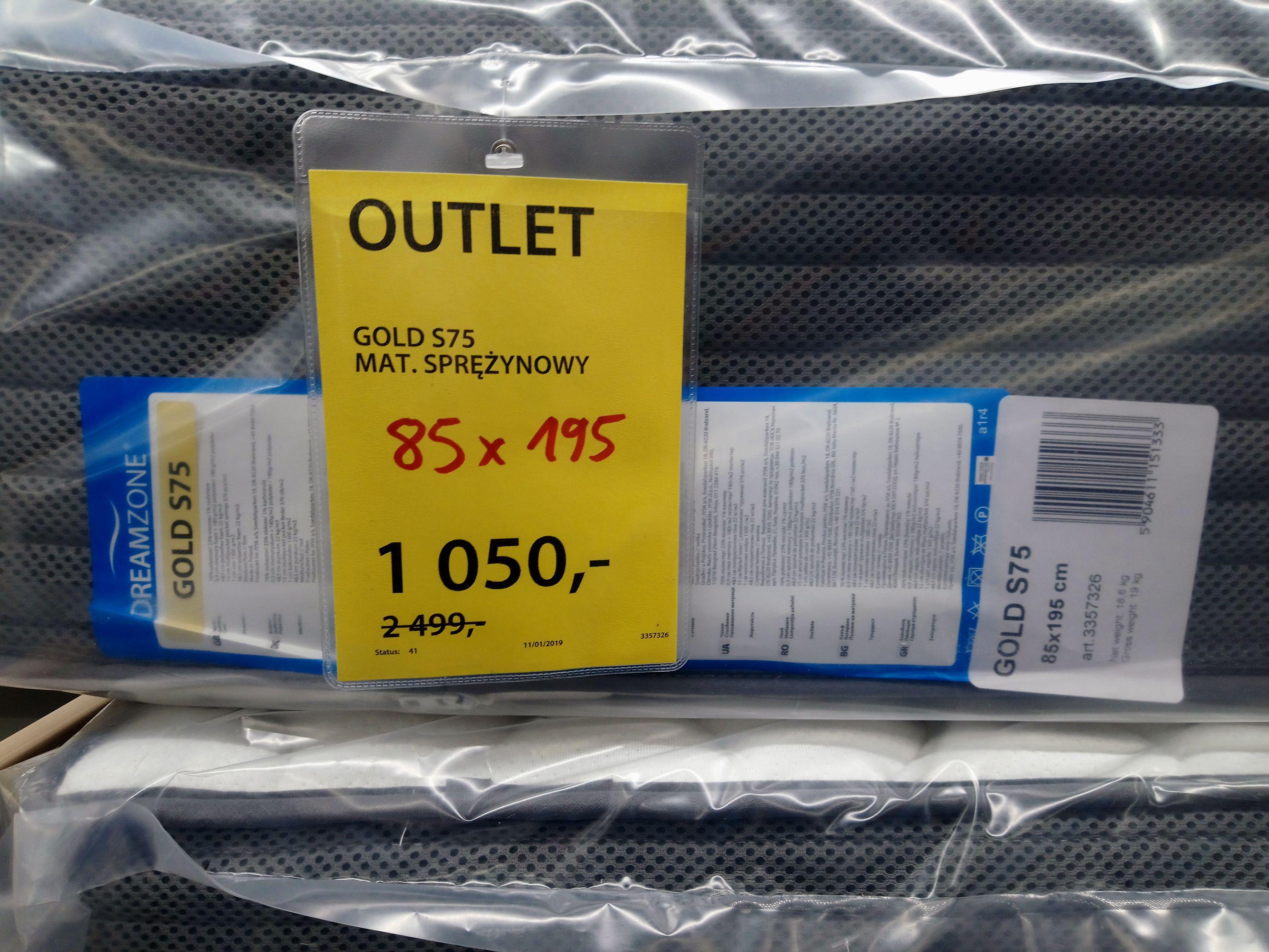 Outlet materac sprężynowy GOLD S75 85X195