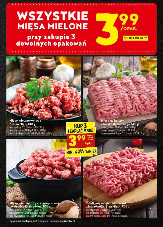Wszystkie mięsa mielone po 3,99zł za paczkę przy zakupie 3 sztuk. Biedronka do 20.02