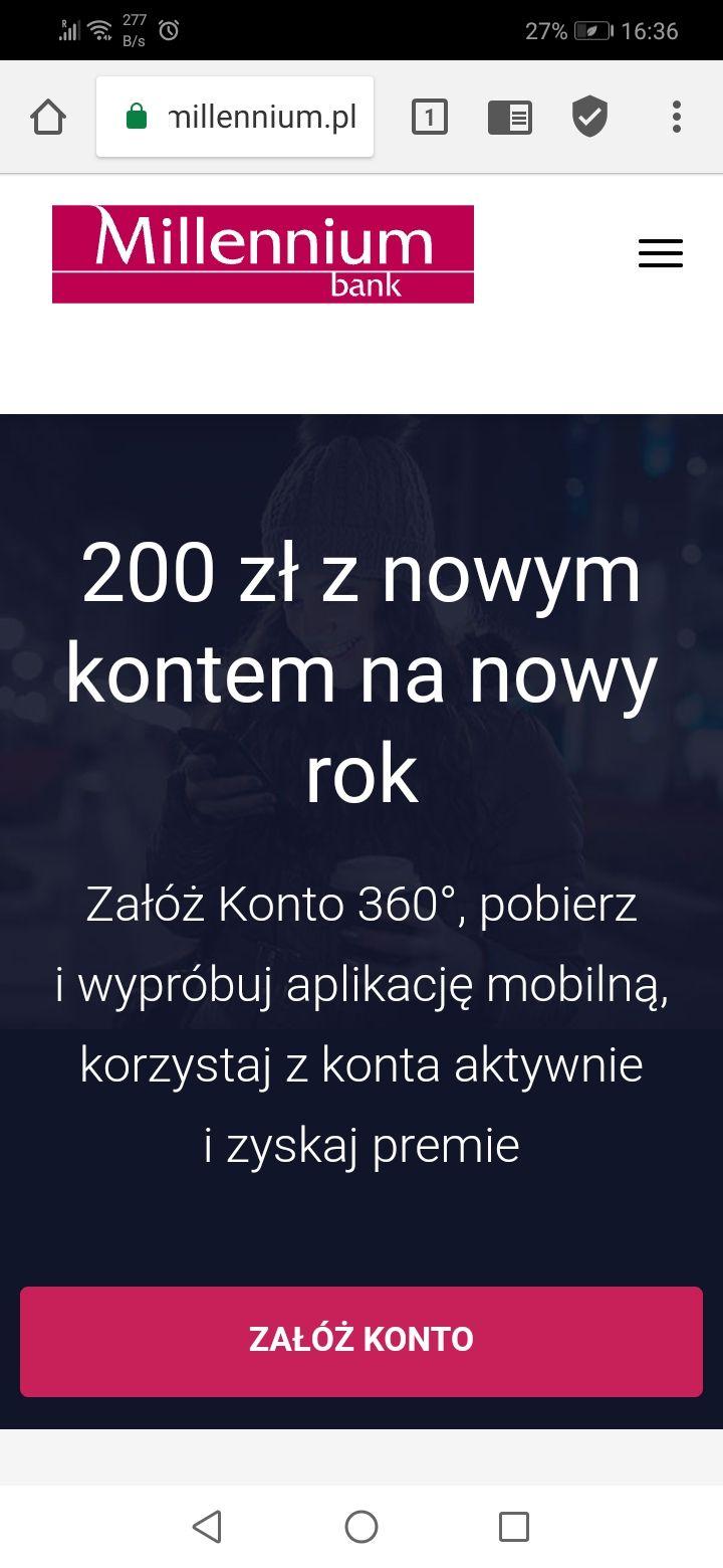 200 zł od Millenium Bank za założenie konta oraz ubezpieczenie 8 specjalistów rok/za darmo  /(konto bezpłatne dla aktywnych)