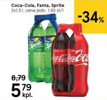 Coca-Cola, Fanta, Sprite - 2x 1,5 l (1,93 zł za litr)