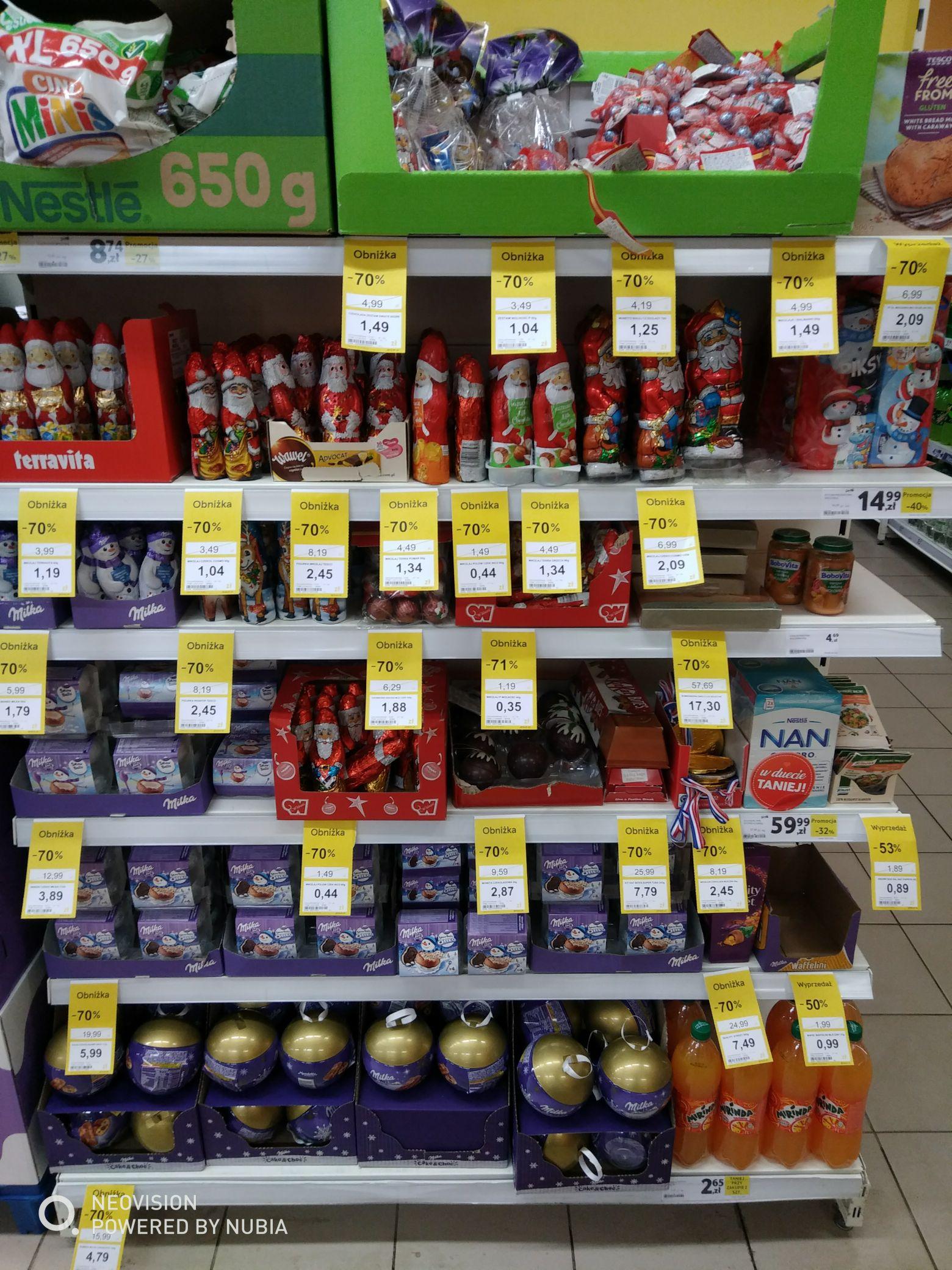 AKTUALIZACJA WSZYSTKO -90% Wyprzedaż słodyczy świątecznych i zestawów kosmetyków @Tesco