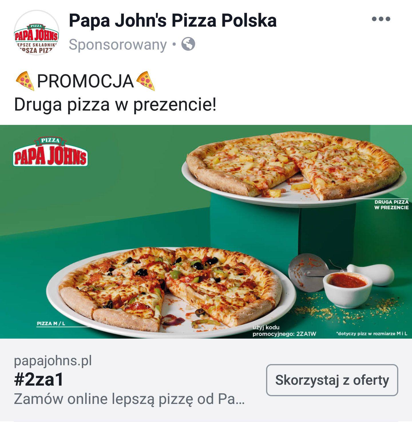 Papa John's Dwie pizze w cenie jednej