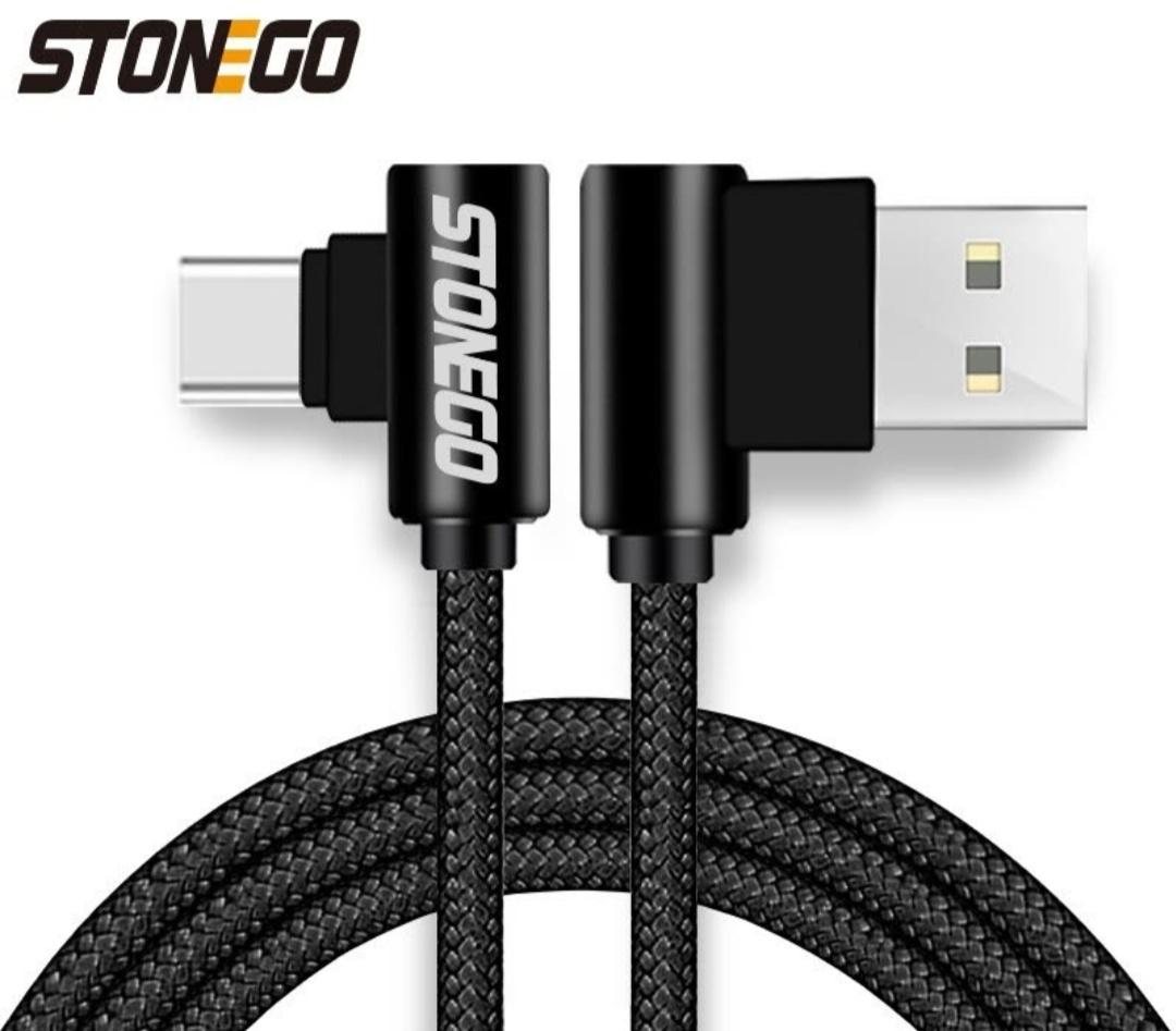 Kabel kątowy Stonego ( microUSB/USB-C ) w oplocie 1m