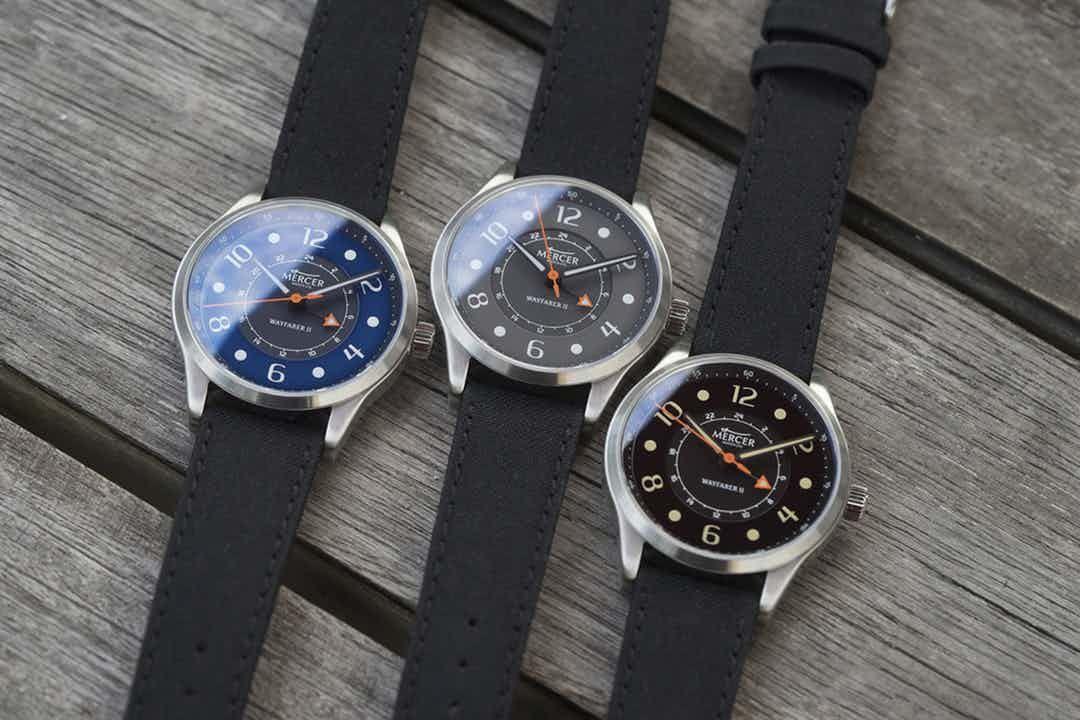 Zegarki Mercer Wayfarer II GMT z Massdrop | dwie strefy czasowe (cztery wskazówki) | Trzy kolory