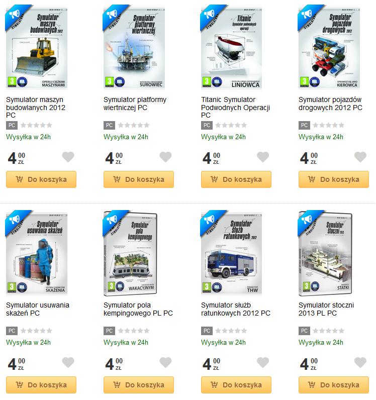 Symulatory PC (wersje pudełkowe) po 4zł + dostawa 9.99zł