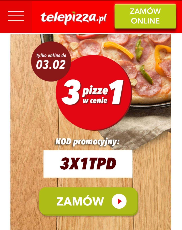 [POWRÓT] 3 Pizze w cenie 1 - Telepizza