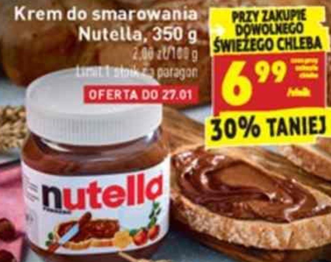 Nutella za 6.99 przy zakupie dowolnego świeżego chleba biedronka