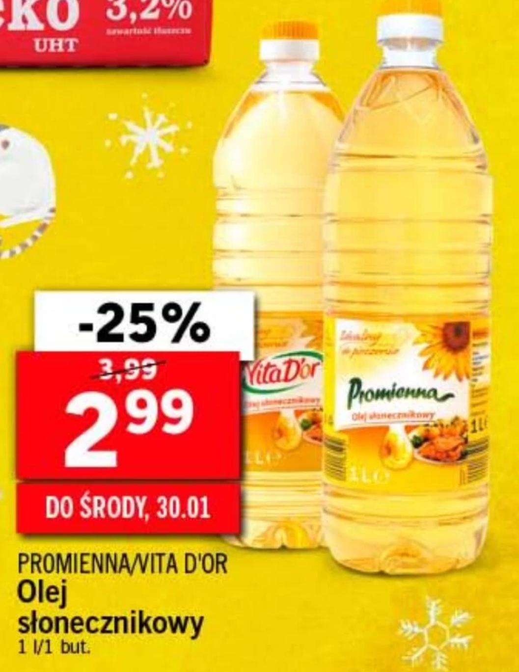 Olej słonecznikowy - 2.99zł za 1l - Lidl